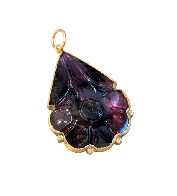 Carved Purple Tourmaline Drop Pendant