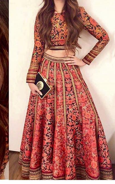 Patterned Crop Top Lehenga