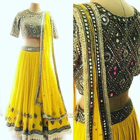 Yellow mirror work lehenga