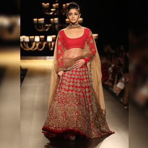 Red Embroidered Bridal Lehenga