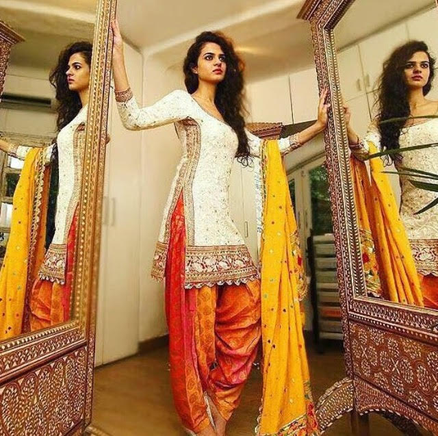 Orange-White Patiala Suit