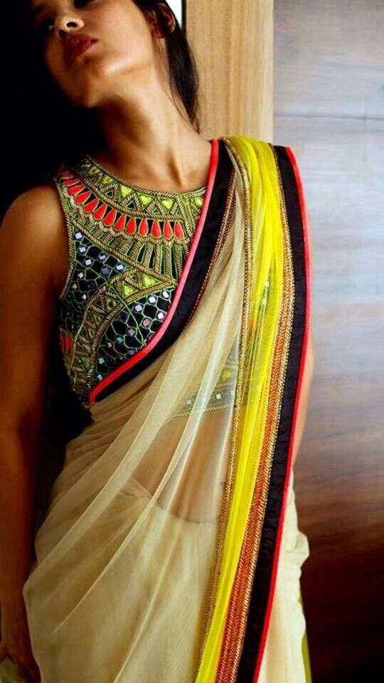 Multicolored Embroidered Saree
