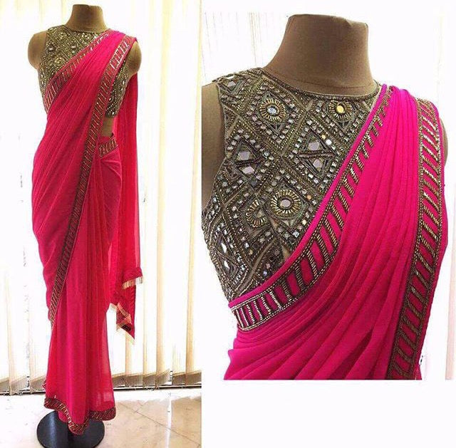 Pink Mirror Work Saree