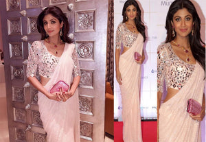 White Patterned Saree
