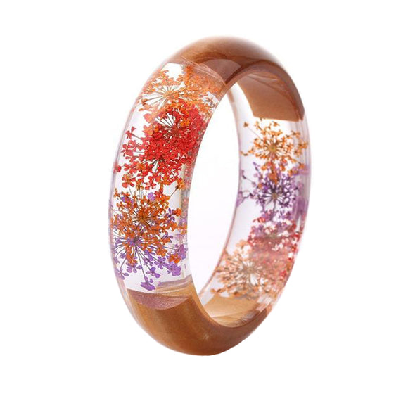 Retro Handmade Wood & Resin Dried Flower Bracelet