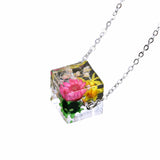 Handmade Transparent Resin Flower Cube Pendant Necklace