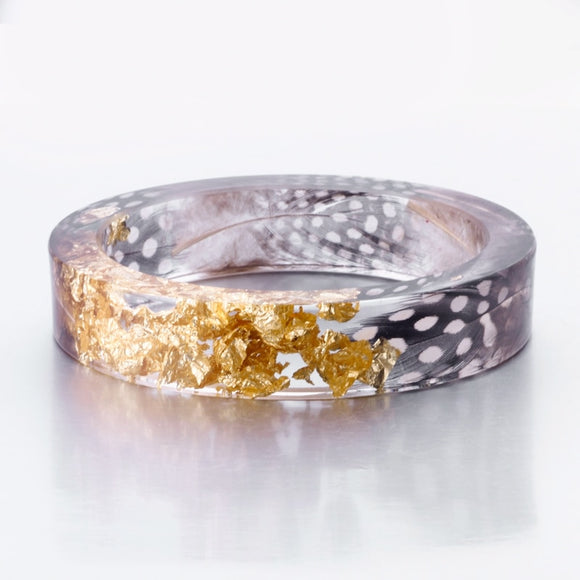 New Handmade Resin Bangle Bracelet W/ Gold Flake and Feather Inside