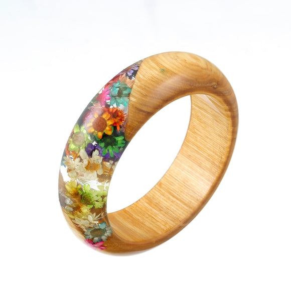 New Handmade Resin Bangle Bracelet with Real Wood & Multi-Colored Dried Flowers