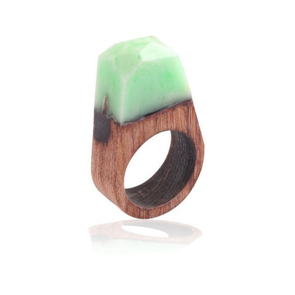 Handmade Green Cloud Resin & Wood Ring
