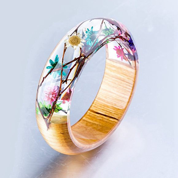 Handmade Resin Bangle Bracelet with Real Wood & Flowers W/ Sticks