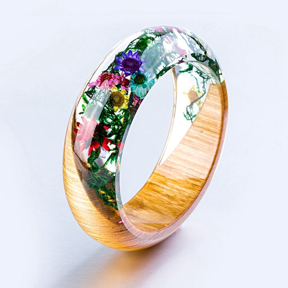 New Handmade Resin Bangle Bracelet with Real Wood & Multi-Colored Flowers & Vines