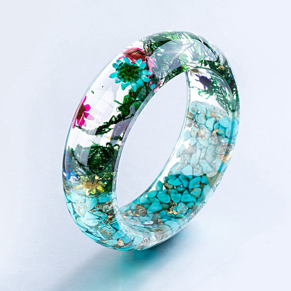 Handmade Stone & Flower Filled Resin Bangle Bracelet