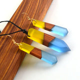 Blue & Yellow Wood & Resin Necklace/Earring Set