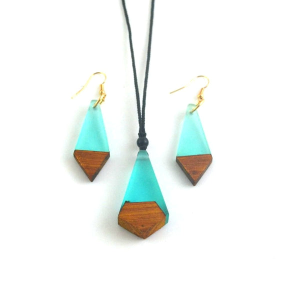 Cyan Wood & Resin Necklace/Earring Set