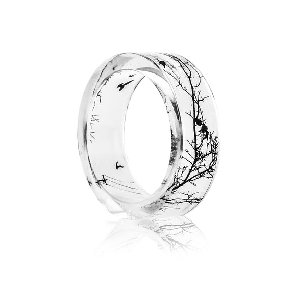 Handmade Transparent Tree & Bird Resin Ring