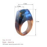 Handmade Icy Mountain Blue Wood & Resin Ring