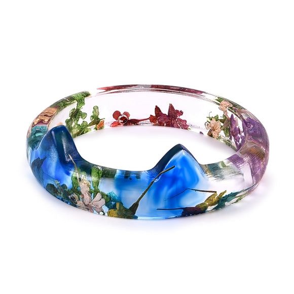 Creative Handmade Cat Ear Colorful Flower Resin Ring