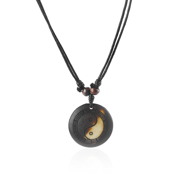 Vintage Resin Yin Ying Yang Pendant Necklace