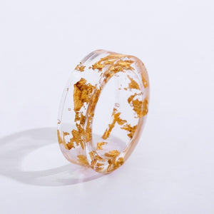 Handmade Transparent Gold Flake Resin Ring