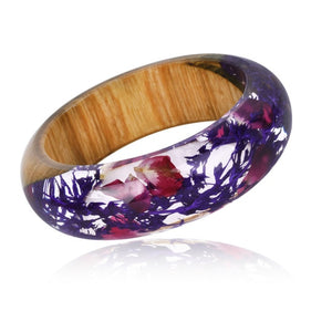 New Handmade Resin Bangle Bracelet with Real Wood & Purple Dried Flower