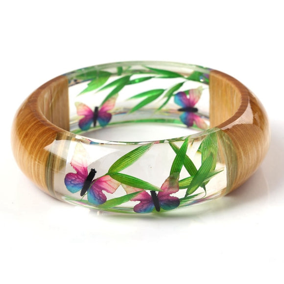 Handmade Resin Bangle Bracelet with Real Wood & Bamboo Leaf