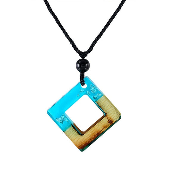 Handmade Blue Resin & Wood Square Necklace