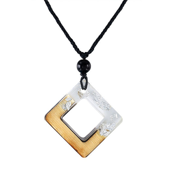 Handmade White Silver Flake Resin & Wood Square Necklace