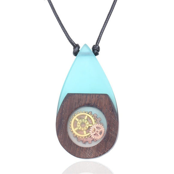 New Handmade Steam Punk Cog Blue Resin & Wood Necklace