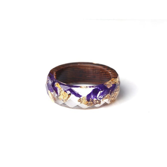Handmade Purple & Gold V2 Wood & Resin Ring