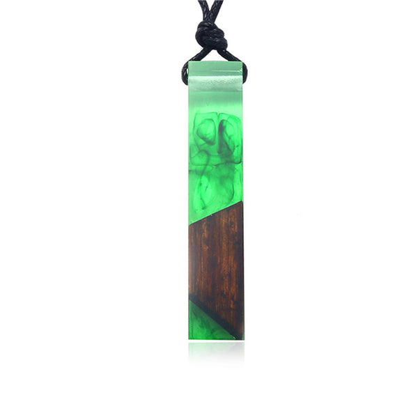Handmade Green Wood & Resin Pendant Necklace