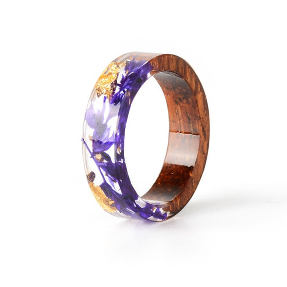 New Handmade Wood & Resin Purple & Gold Flower Ring