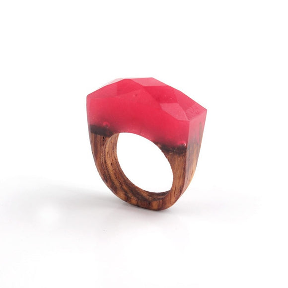 Handmade Wood & Red Resin Ring