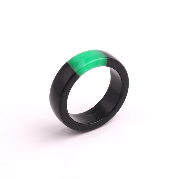 Handmade Black & Green Resin Ring