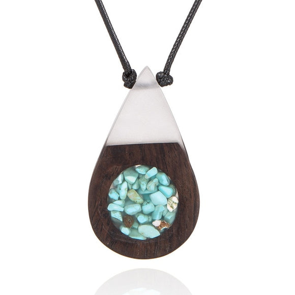 Handmade Natural Wood White Water Drop W/ Rock Filling Necklace