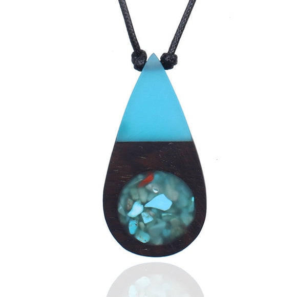 Handmade Natural Wood Blue Water Drop W/ Rock Filling Necklace