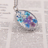Handmade Dried Flower Resin Pendant Necklace