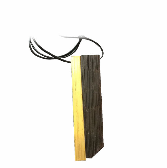 New Handmade Yellow Stripe Wood & Resin Necklace