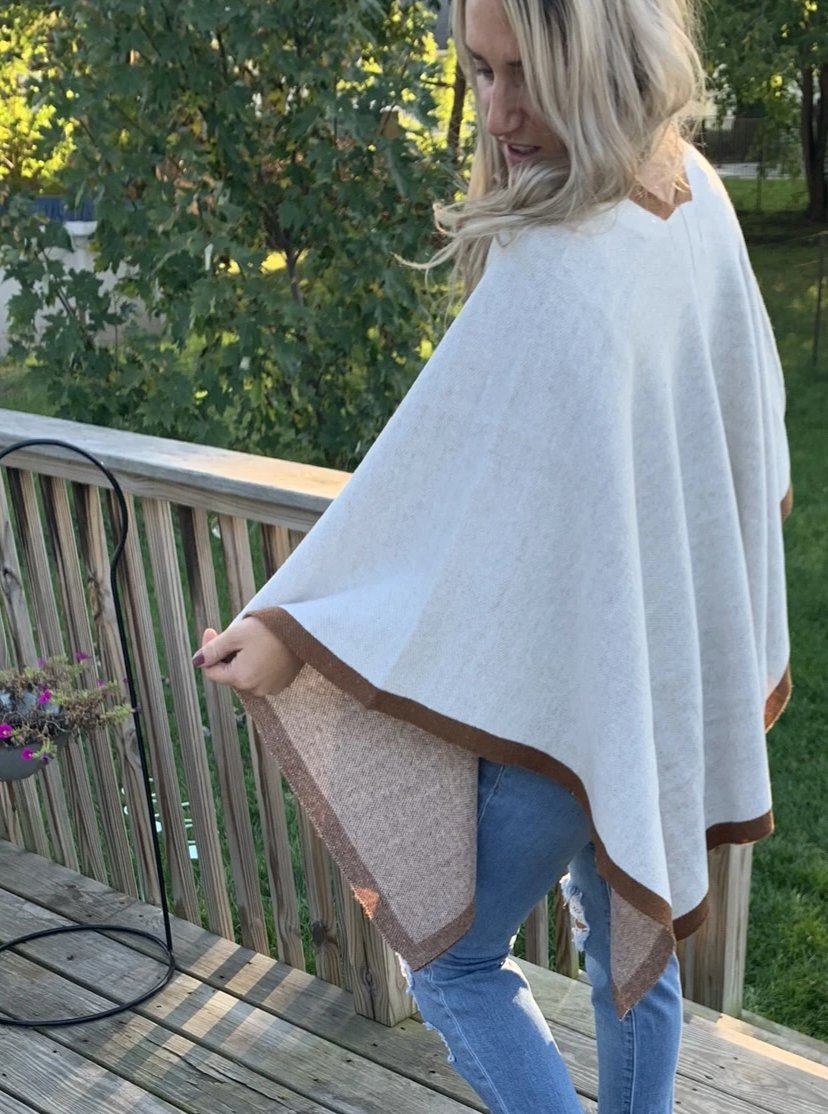 Gray draped poncho | brown trim tunic length