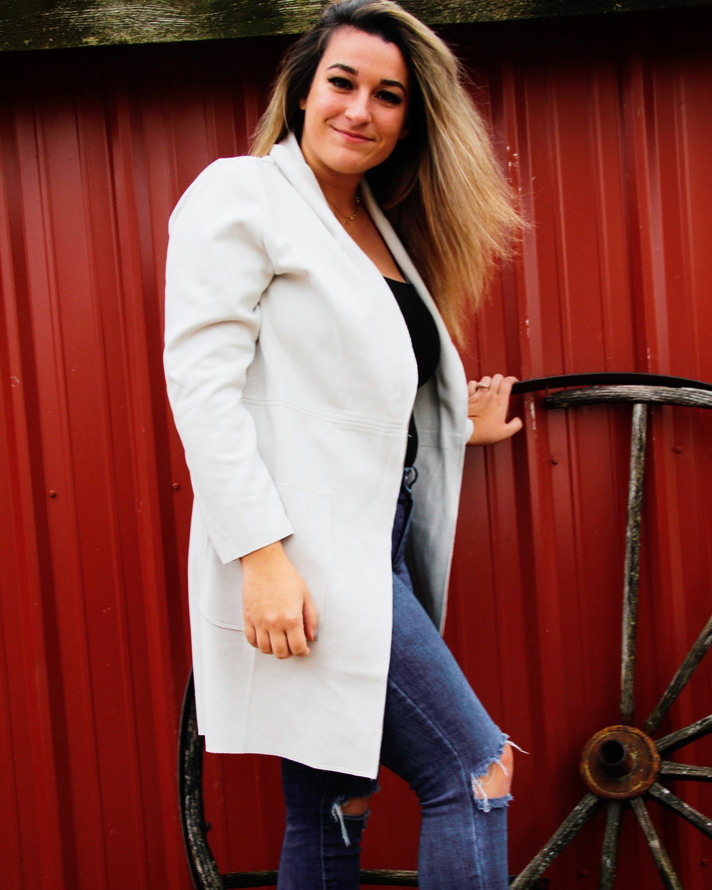 Light cream structured jacket, in scuba material