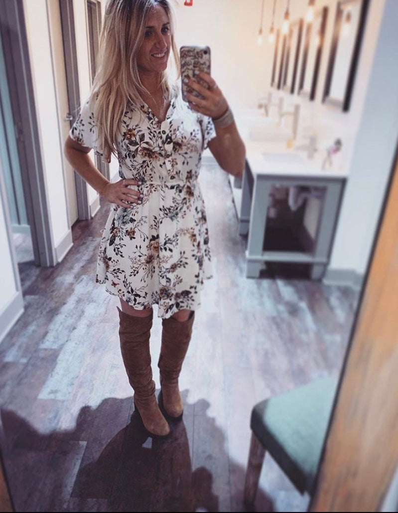 ivory based short sleeve shift dress, with rustic floral patterns