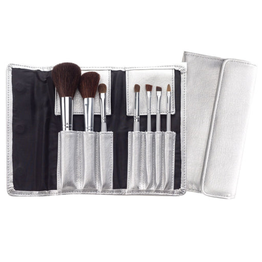 Cala 7 Piece Cosmetic Brush Collection with Silver Pouch