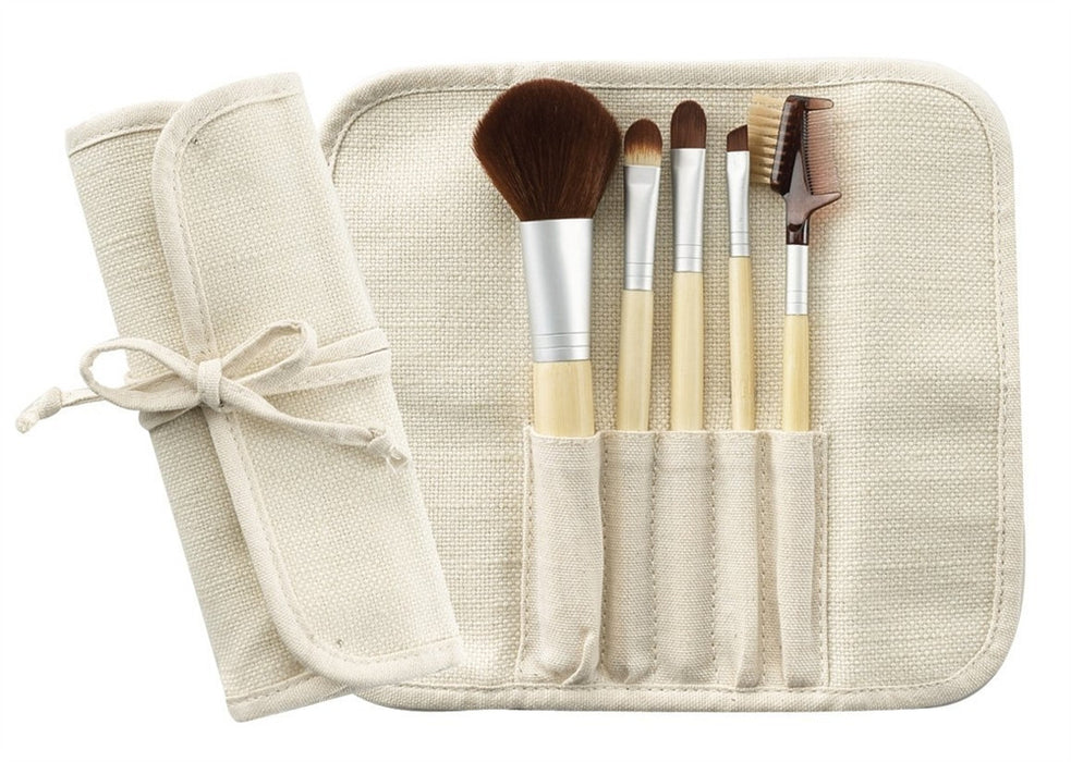 Cala Bamboo Brush Set with Fabric Pouch 5 Piece