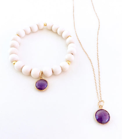 Amethyst Necklace and Bracelet Set