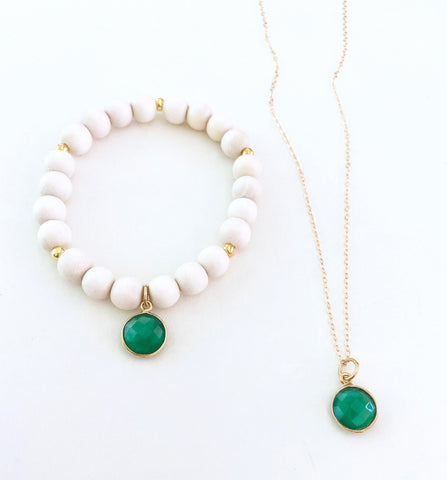 Green Agate Necklace and Bracelet Set