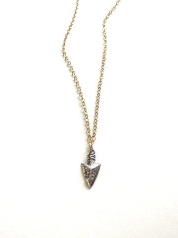 Mix Metal Arrow Head Charm Necklace
