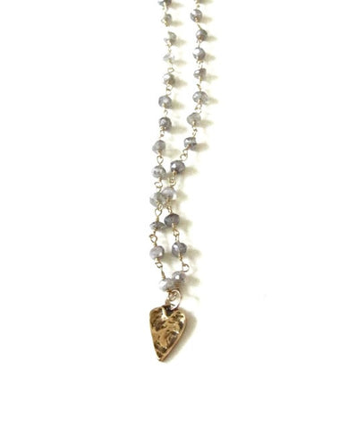 Mystic Labradorite Heart Charm Necklace