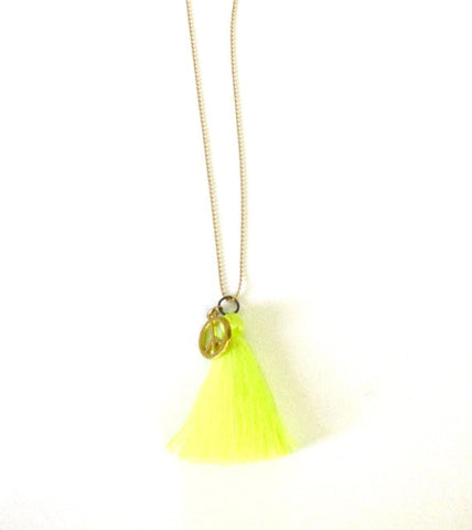 Peace Charm Tassel Necklace in lime