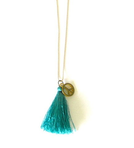 Peace Charm Tassel Necklace in Teal