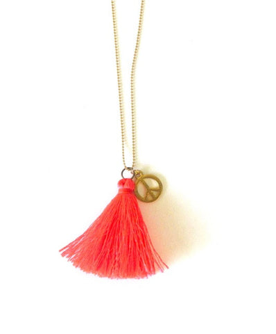 Peace Charm Tassel Necklace in Coral