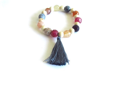 Light Wood Stardust Tassel Bracelet